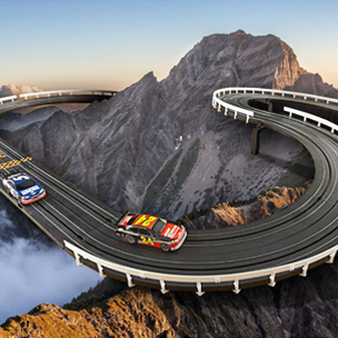 image of Illustration of Racing Cars and Racing Track
